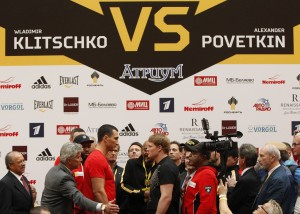 Heavyweight boxing world champion Vladimir Klitschko of Ukraine and Challenger Alexander Povetkin of Russia attend an official weigh-in on the eve of their title fight in Moscow